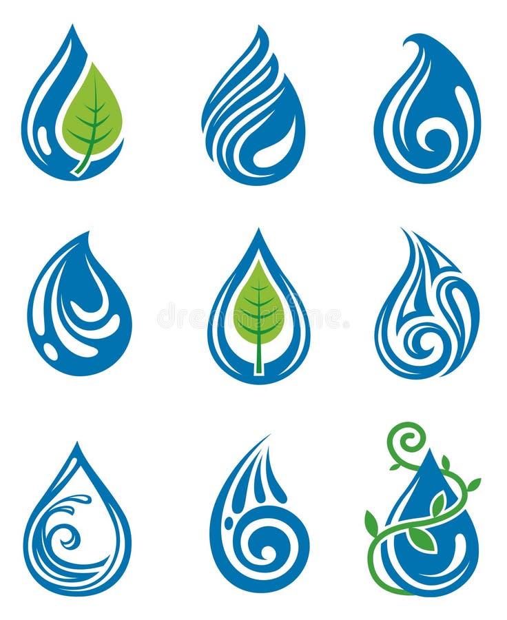 De dalingenpictogrammen van het water stock illustratie