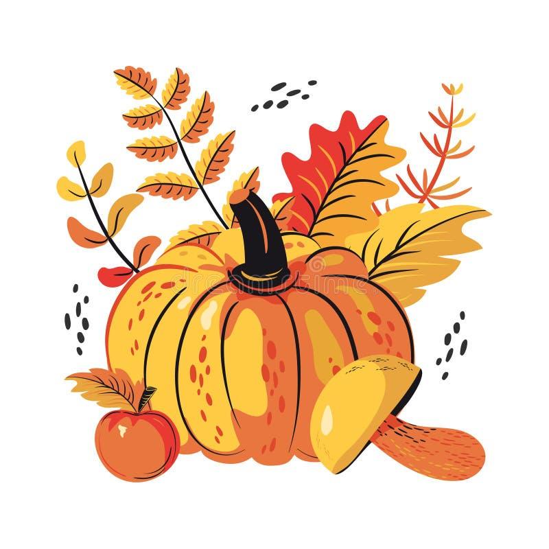 De dalingsbladeren, schiet, appelen en pompoenreeks als paddestoelen uit de grond stock illustratie