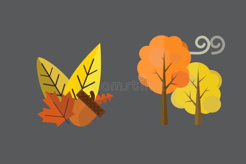 De dalingseikel verlaat de wolken van de boomregen koud weer rode gele kleuren het vectorseizoen van de illustratieparaplu royalty-vrije illustratie
