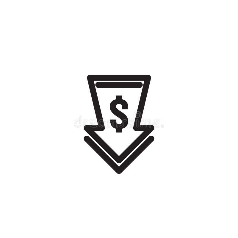 de dalingspictogram van de dollarpijl Het symbool van de geldpijl daling van de economie de uitrekkende toenemende daling neer Za stock illustratie