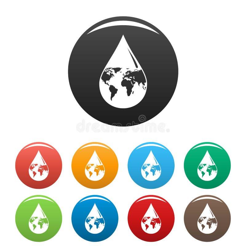 De dalingspictogrammen van het aardewater geplaatst kleur royalty-vrije illustratie