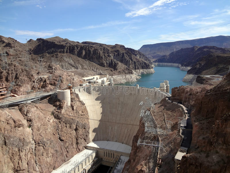 De Dam van Hoover die boven van de kant van Arizona wordt gezien stock foto