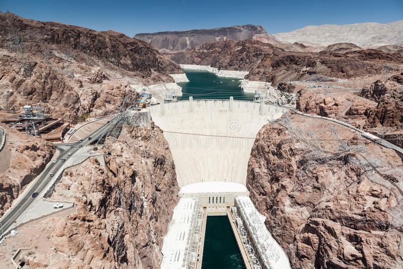 De Dam van Hoover en de rivier van Colorado dichtbij Las Vegas, Nevada stock foto's