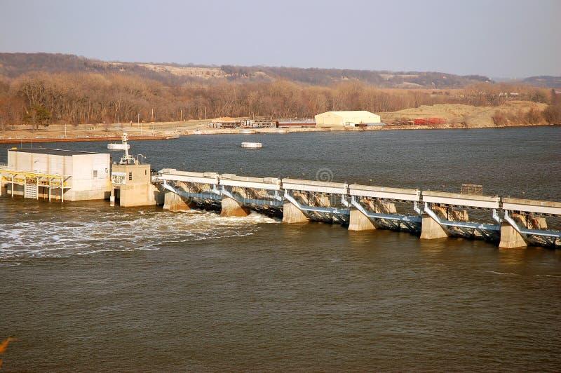 De Dam van de Stavedrots op de Rivier van Illinois stock afbeelding