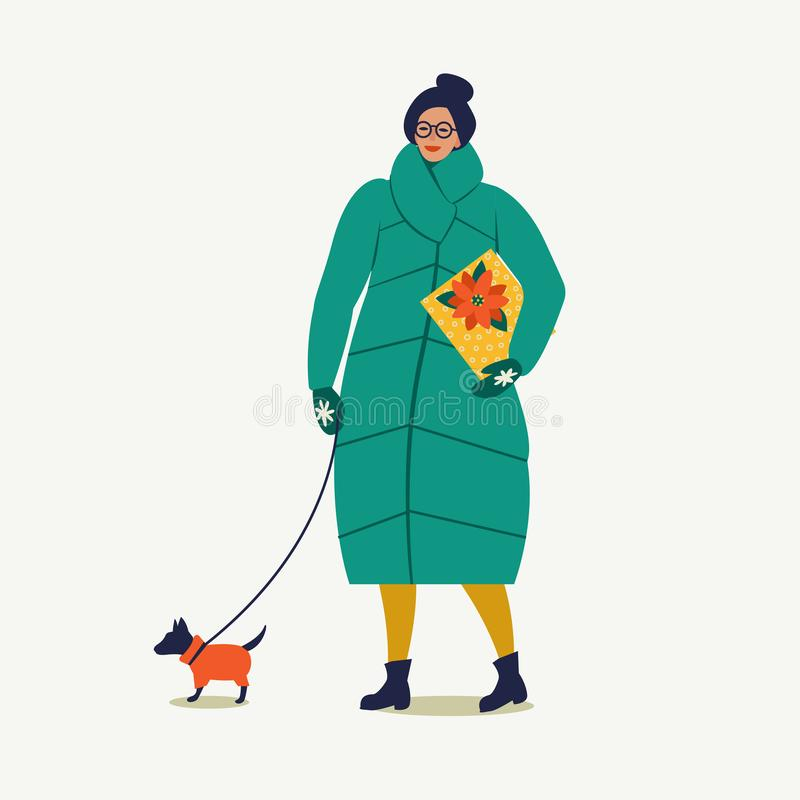 De dame die met hond lopen draagt een Kerstmisdoos Vrolijke Kerstmis en Gelukkig Nieuwjaar royalty-vrije illustratie