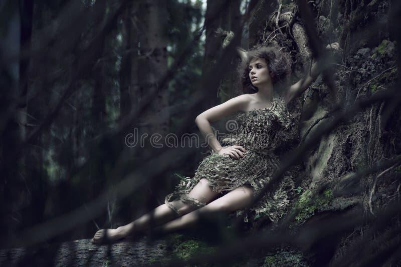 De dame die van Eco op de boomstam ligt stock foto