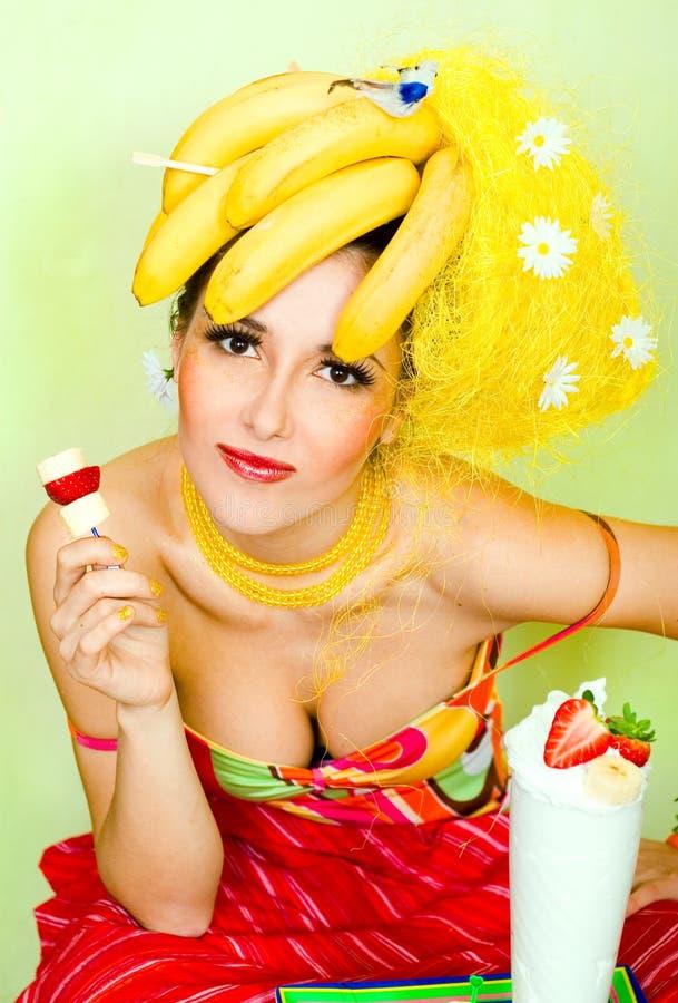 De dame van de banaan stock foto's