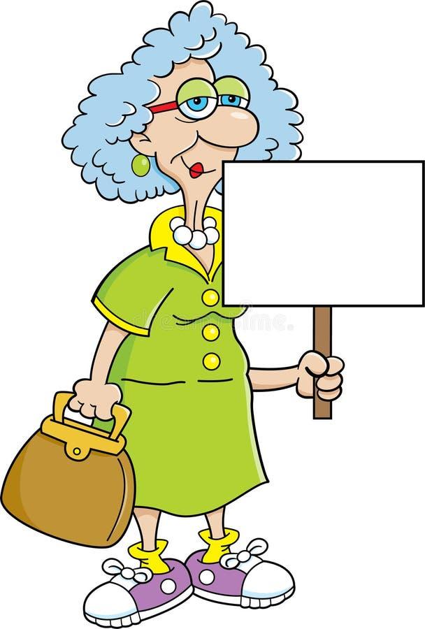 De dame van de bejaarde met een teken royalty-vrije illustratie