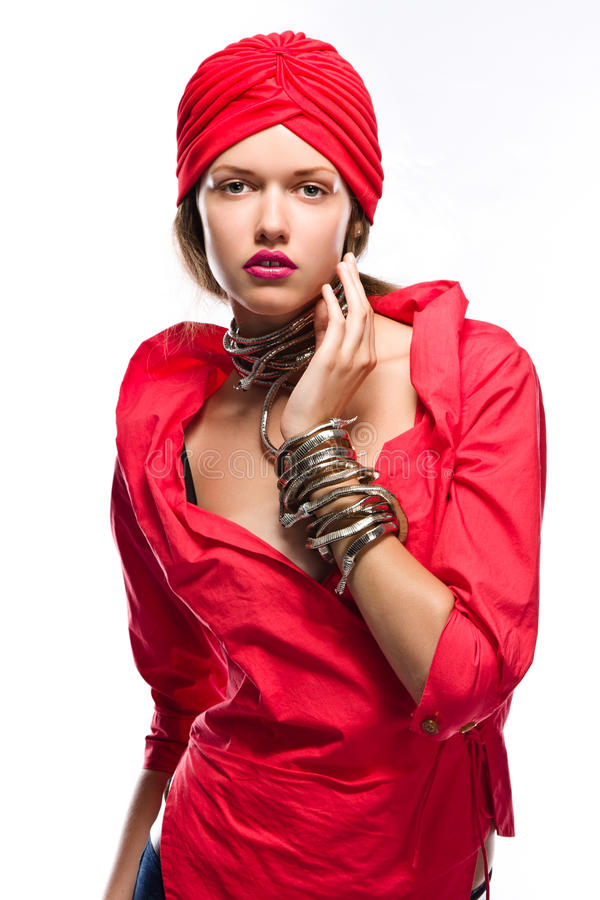 De dame van de manier in rood royalty-vrije stock foto's