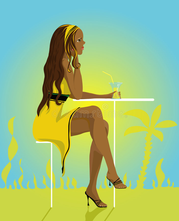 De Dame van de zomer stock illustratie