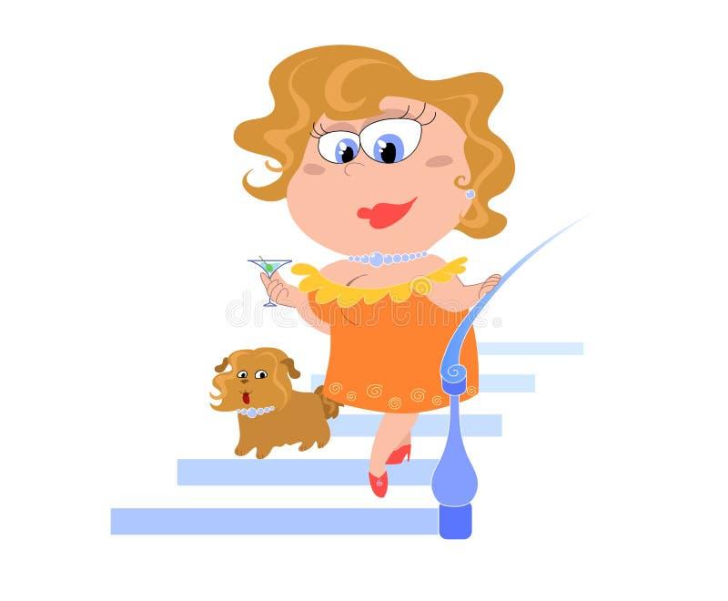 De dame van het beeldverhaal met hond - vectorial illustratie royalty-vrije illustratie