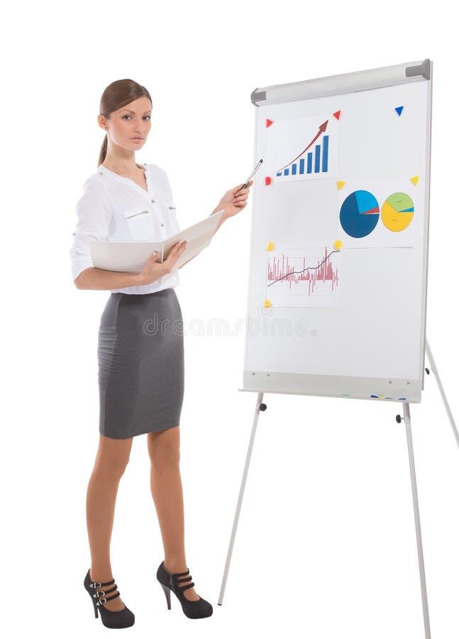 De dame van het bureau tijdens bedrijfspresentatie stock fotografie