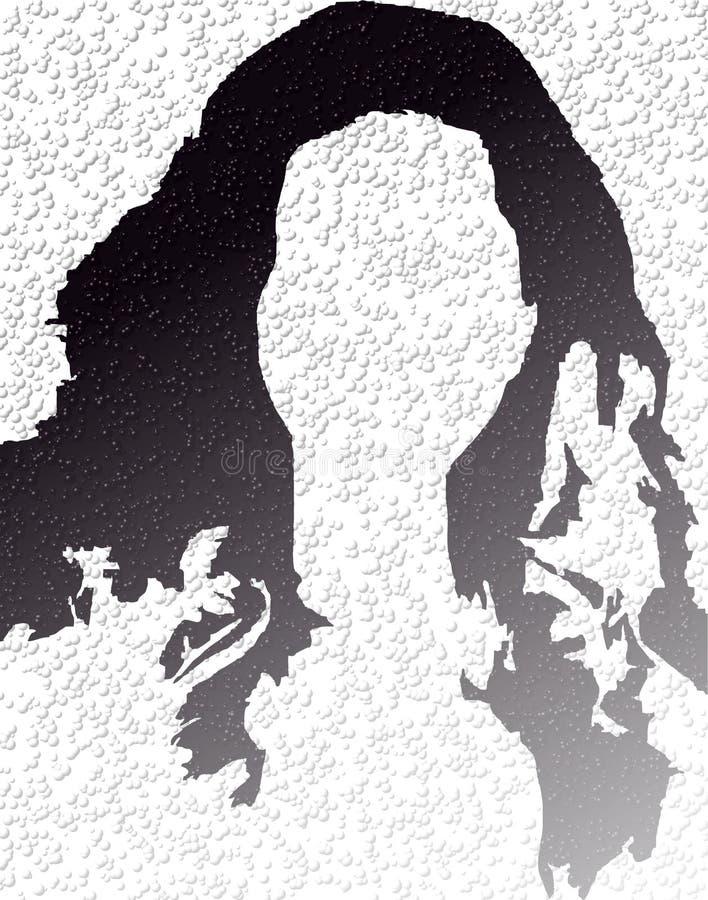 De dame van het embleem zwart-wit, bellen, zwarte haren royalty-vrije illustratie