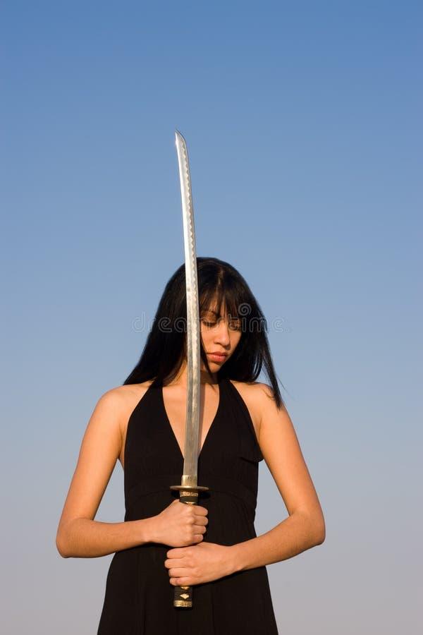 De Dame van het zwaard stock foto