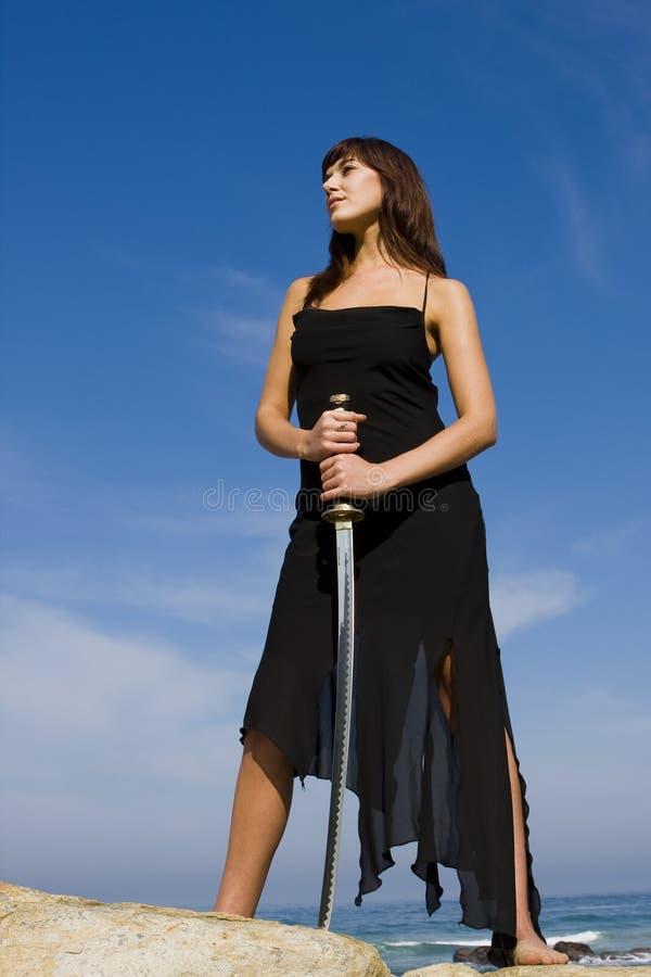 De Dame van het zwaard stock afbeeldingen