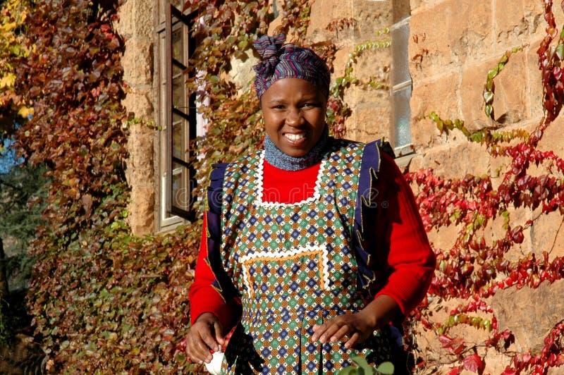 De Dame van Mosotho op het Werk stock afbeelding