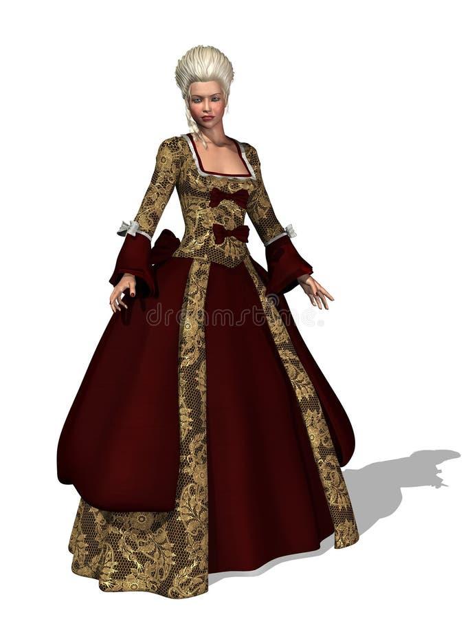 de Dame van Roccoco van de 18de Eeuw vector illustratie