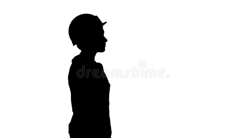 De dame van de silhouetbouwvakker gevoelloos lopen stock afbeelding