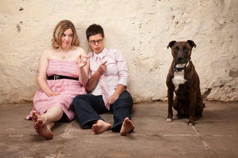 De dames beschuldigen een Hond stock fotografie
