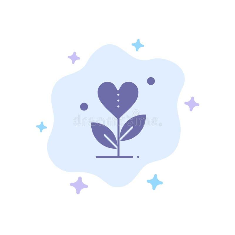 De dankbaarheid, groeit, de Groei, Hart, houdt van Blauw Pictogram op Abstracte Wolkenachtergrond vector illustratie