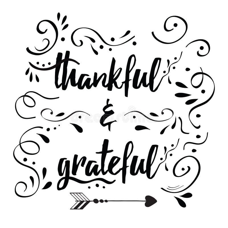 De dankbare dankbare vectorhand getrokken kaart verfraaide bloemenornament stock illustratie