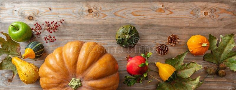 De dankzeggingsvlakte legt met kleurrijke pompoenen, vruchten en dalingsbladeren op rustieke houten achtergrond, banner stock fotografie