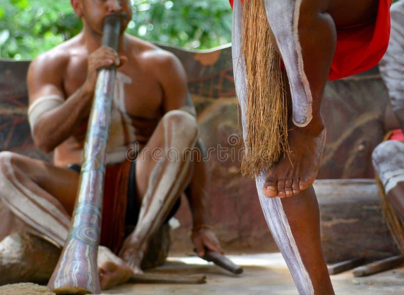 De dans Inheemse muziek van Yirrganydji Inheemse mensen playand royalty-vrije stock afbeelding