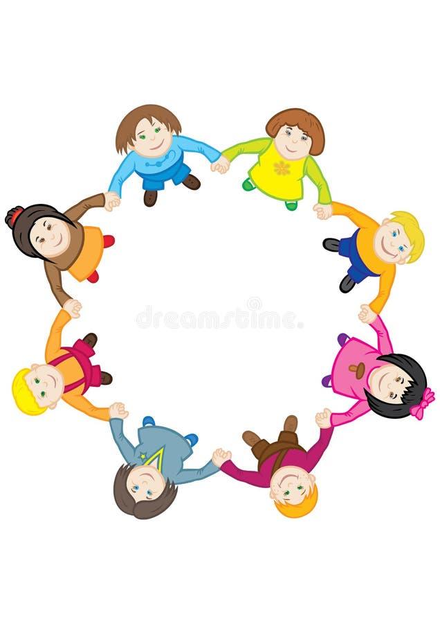 De dans van gelukkige kinderen rond de cirkel stock illustratie