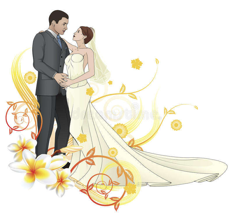 De dansende bloemenachtergrond van de bruid en van de bruidegom royalty-vrije illustratie