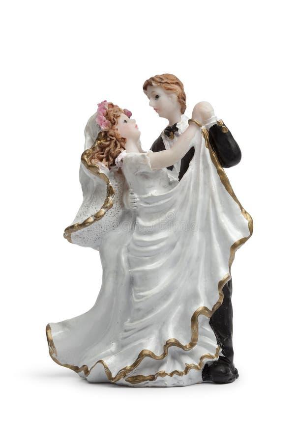 De dansende cake van de bruid en van de bruidegom topper royalty-vrije stock fotografie