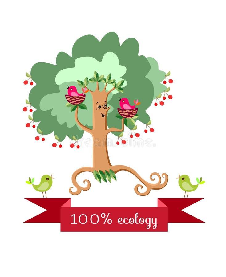 De dansende kersenboom in de vorm van een gestileerde vrouw met vogel nestelt op de takken stock illustratie