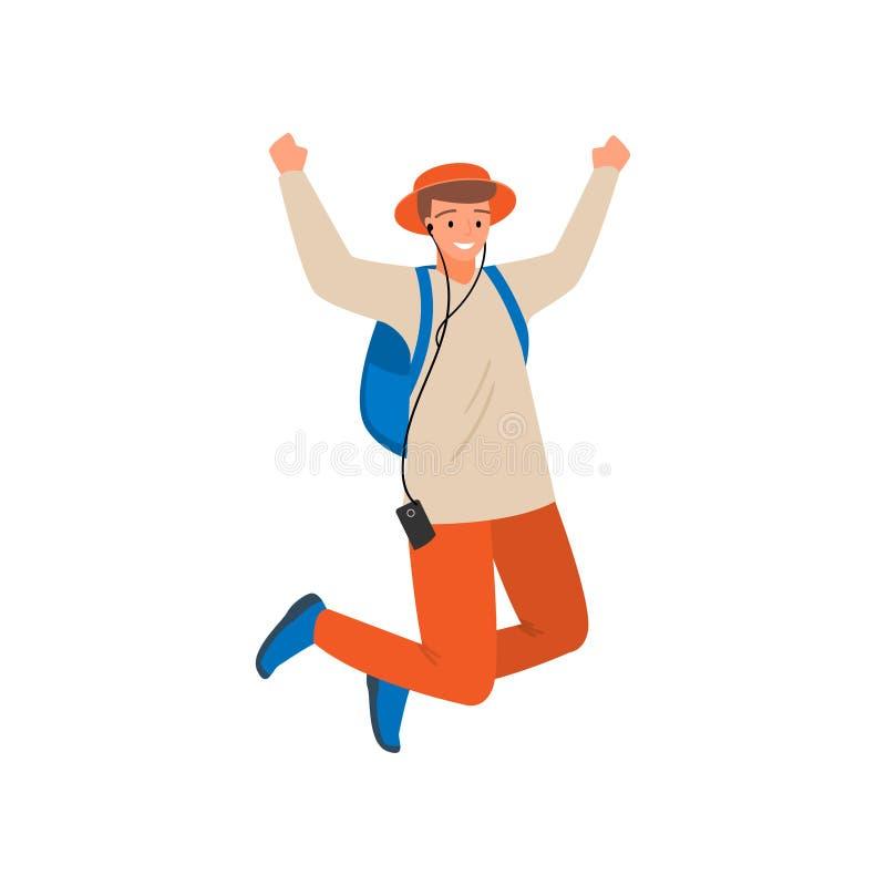De dansende moderne studentenjongen, springt omhoog, in oranje broek vector illustratie