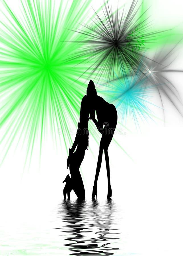 De dansende Vrouwen silhouetteren vector illustratie