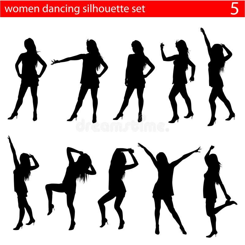 De dansende vrouwen silhouetteren reeks vector illustratie
