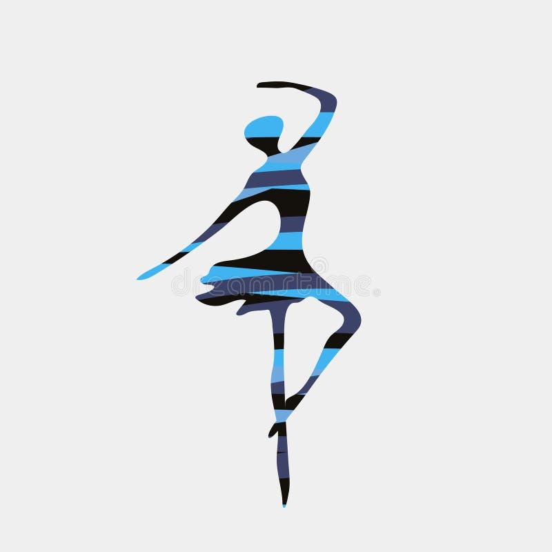 De danser in ballet stelt met abstract het embleemsymbool van het silhouetpatroon vector illustratie
