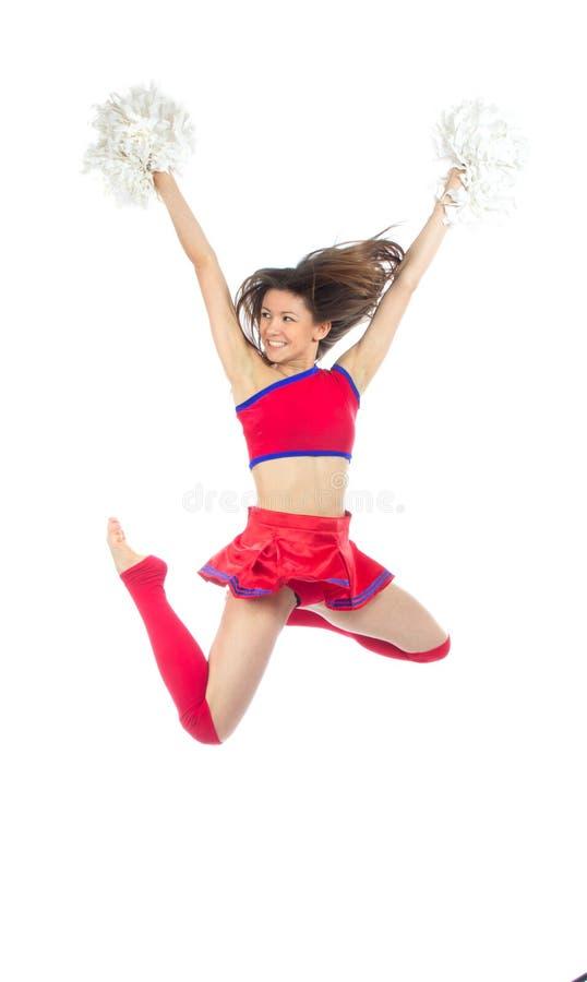De danser van Cheerleader van het cheerleading van team het springen royalty-vrije stock foto's