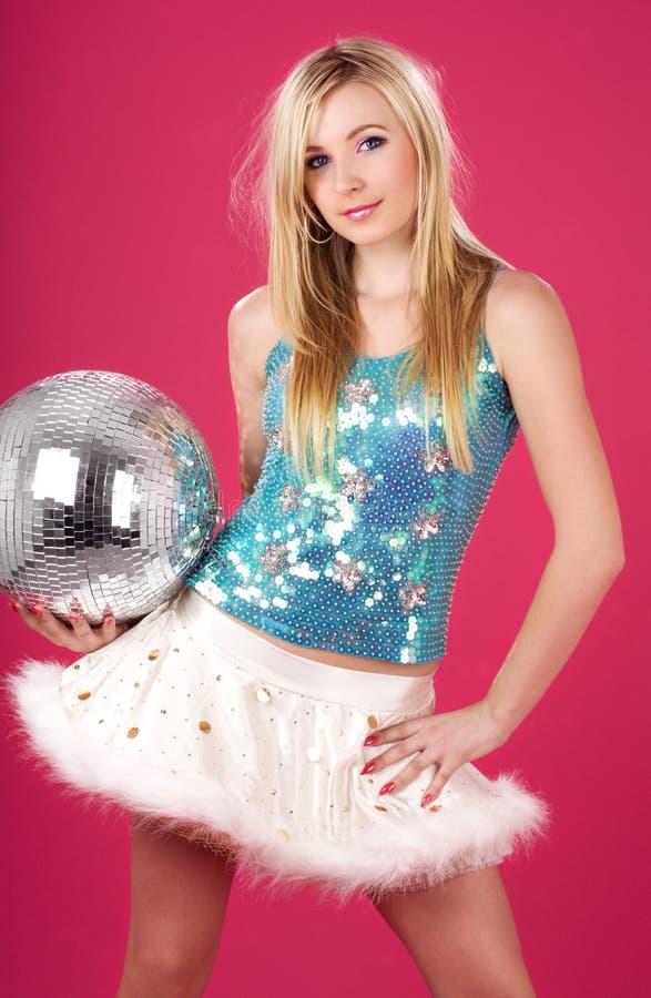 De danser van de partij met discobal royalty-vrije stock foto's