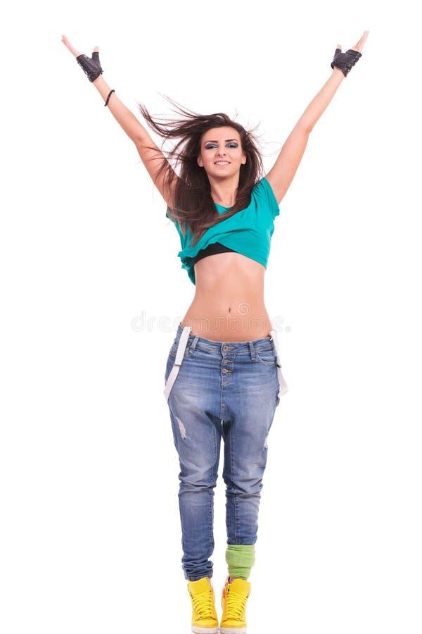 De danser van de vrouw in de positie van Y stock fotografie