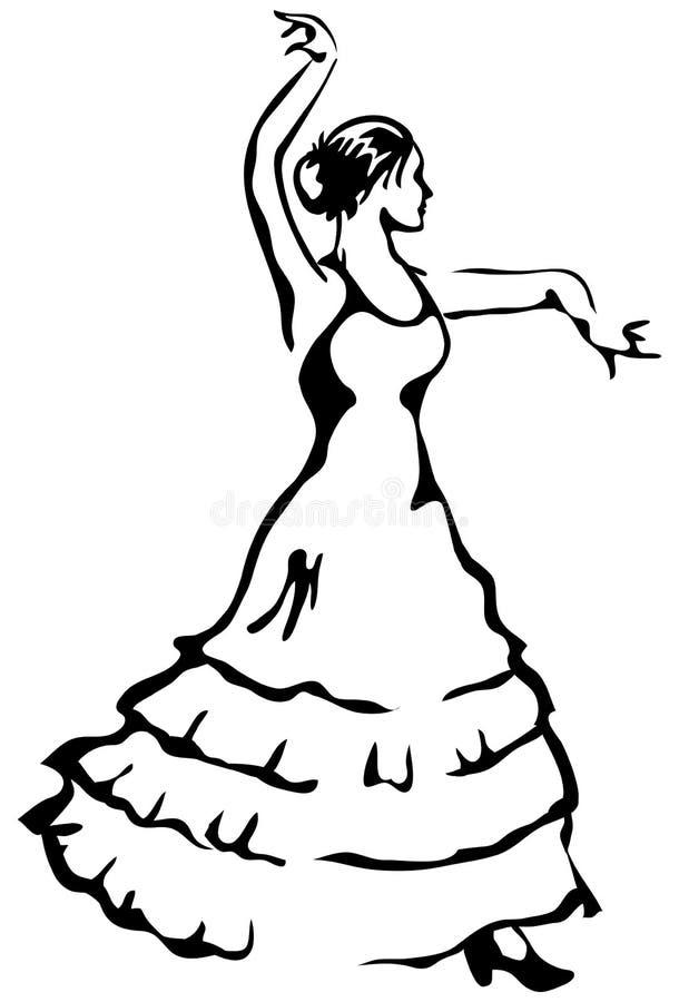 De danser van het flamenco. Vector illustratie. stock illustratie