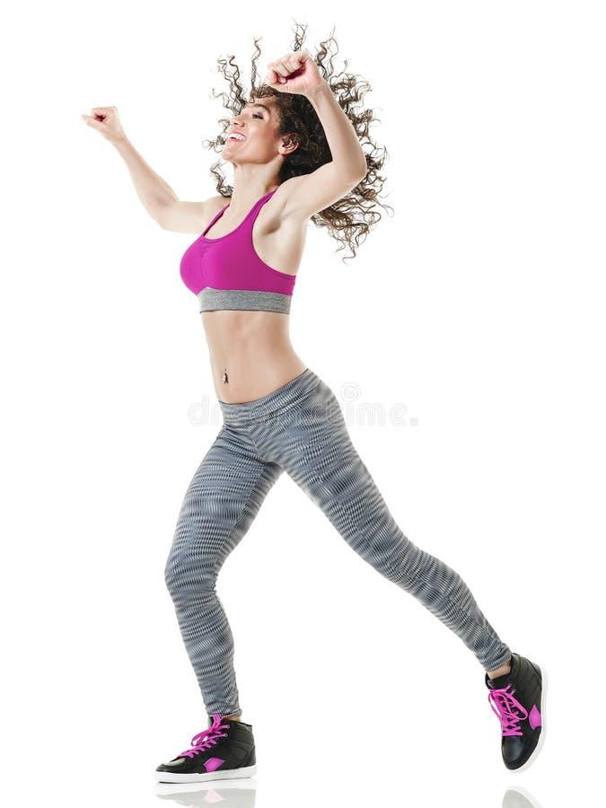 De danser van vrouwenzumba het dansen geschiktheidsoefeningen royalty-vrije stock fotografie