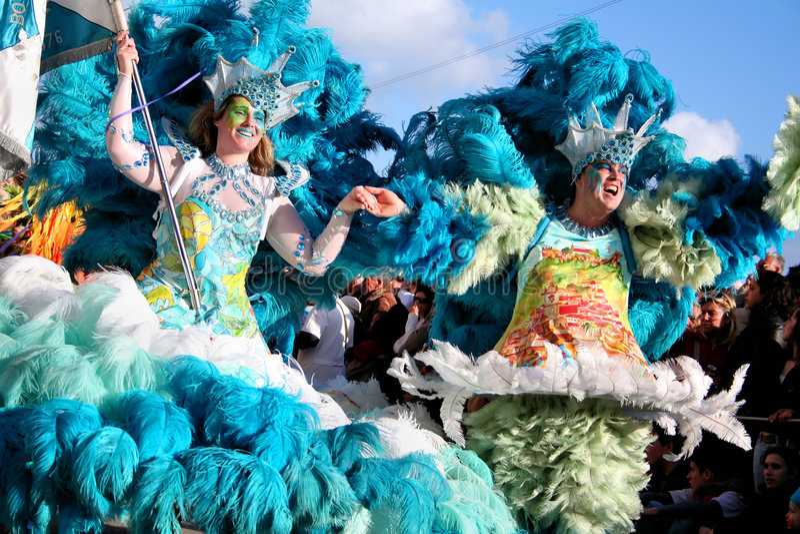 De Dansers van de samba in Carnaval royalty-vrije stock foto