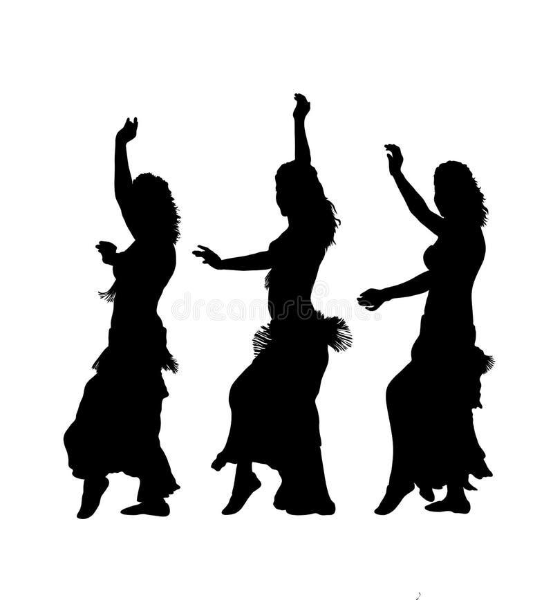 De dansers van het oosten silhouetteren royalty-vrije illustratie