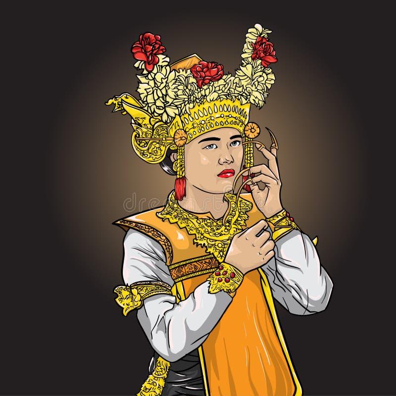 De dansersontwerp van Legong balinesse vrouwen royalty-vrije illustratie