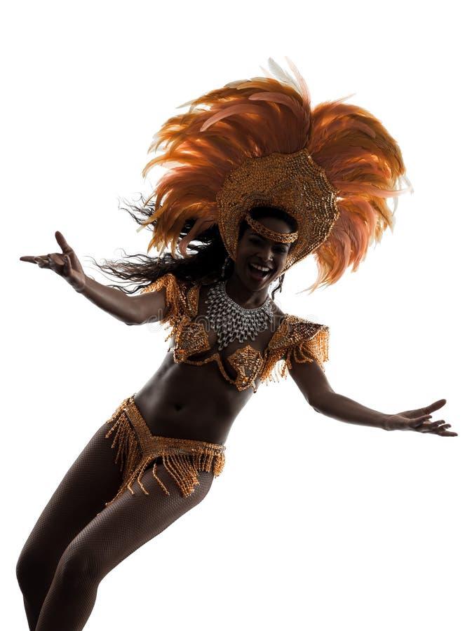 De danserssilhouet van de vrouwensamba royalty-vrije stock afbeelding
