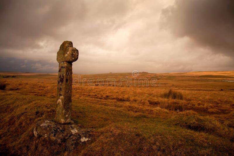 De Dartmoorkruisen zijn een reeks steenkruisen in Dartmoor worden gevonden die royalty-vrije stock afbeeldingen