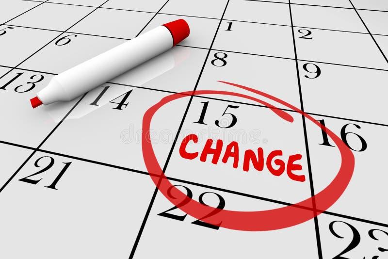 De Datum van de veranderingsdag Major Shift Different Plan Calendar 3d Illustrat royalty-vrije illustratie