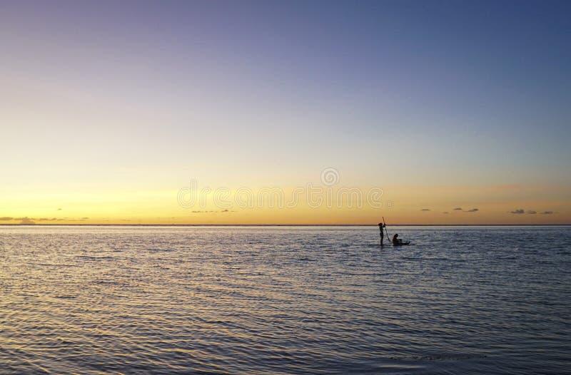 De Datum van de peddelraad bij Zonsondergang stock afbeeldingen