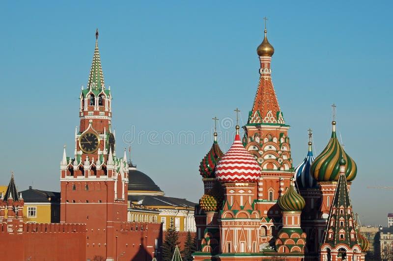 De de Basilicumkathedraal van het Kremlin & St, Moskou, Rusland stock foto's