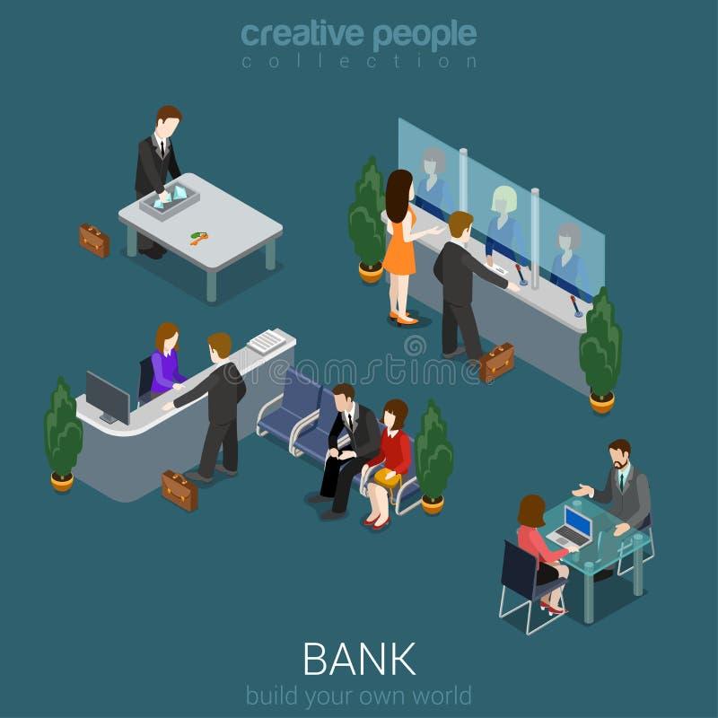 De de binnenlandse elementen en mensen van het bankbureau stock illustratie