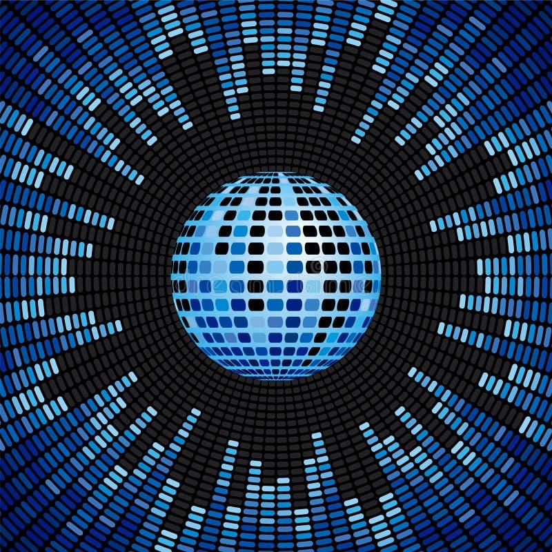 De de blauwe Bal van de Disco en Achtergrond van de Equaliser stock illustratie
